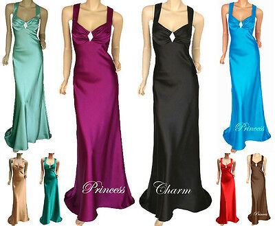 AU19.99 • Buy Formal Evening Bridesmaid Ball Prom Dress Satin Full Length Plus Size 24 To 8