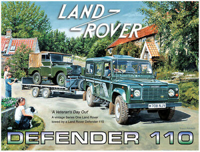 Land Rover Defender 110, Off Road, 4x4, Classic, Small Metal Tin Sign, Picture • 5.18£