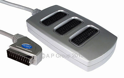 3 Way Scart Lead Cable Wire Splitter Adapter Switch Box Premium Quality Silver • 6.03£
