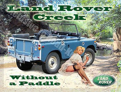 Land Rover Creek, Classic Mk1, Off Road 4x4, Pin Up Girl, Small Metal Tin Sign • 6.29£