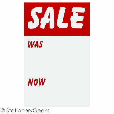 12 SALE WAS NOW Cards 8x5 Price Tickets Label Discount Shop Pricing Sign Tag UK • 1.99£