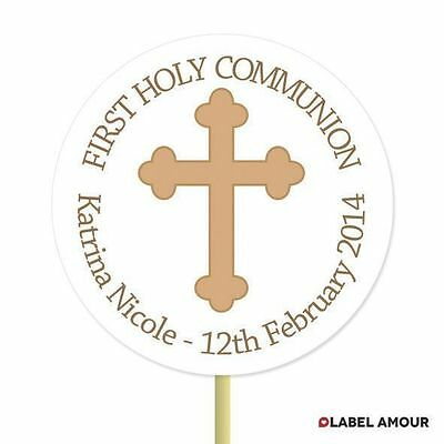 20 PERSONALISED Cup Cake Toppers First Communion Christening Cupcake Decoration • 3.45£