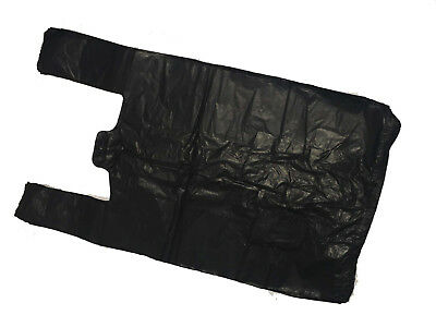 100 Large Strong Black Vest Carrier Bags 11 X17 X21  20micron • 4.50£