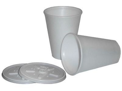 100 Polystyrene 12oz Insulated Foam Tea Coffee Dart Cups With Lids • 16.99£
