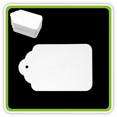 100 White UNSTRUNG Tickets 80mm X 50mm Price Tagging Tags String Swing Labels • 2.12£