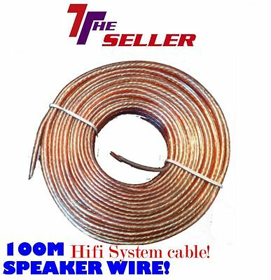 Speaker Cable Oxygen Free 100m Dj Music System Hifi Cable Home Cinema Wire • 14.99£
