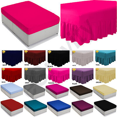 £7.61 • Buy Plain Dyed Fitted,Flat ,deep Valance Sheet, Bed Sheet All Sizes & Colours