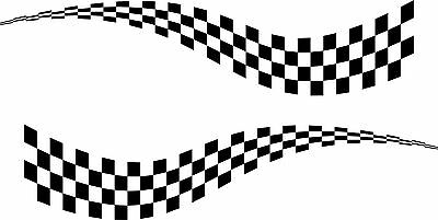 2 X LARGE CHEQUERED FLAG VINYL STICKERS 3 SIZES Race Car Van Camper Decal • 27.49£