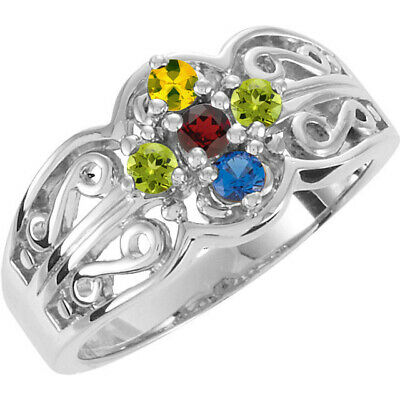 $95 • Buy Sterling SILVER Mother's Birthstone Ring 1-7 Stones, Moms Family Jewelry Ring