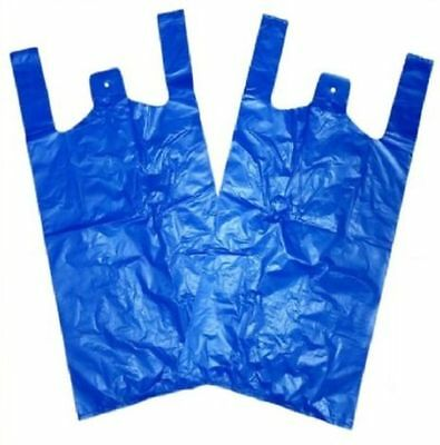 Strong Carrier Bags LARGE Blue 18mu 11x17x21  18MU PLASTIC SUPERMARKET BAGS • 4.50£
