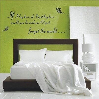 IF I LAY HERE SNOW PATROL Wall Art Sticker, Decal,QUOTES STICKERS -- PD225 • 26.65£