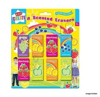Pack Of 8 Kids Children Fruit Scented Erasers Rubbers School Party Bag Filler • 2.39£