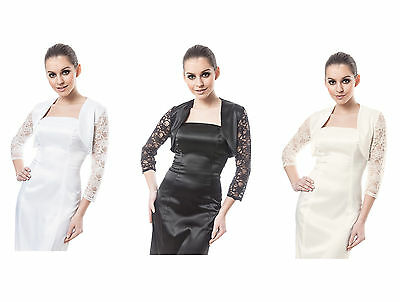 Women Cocktail Evening Party Satin And Lace Jacket Three Quarter Sleeve Caro-T • 15.25£