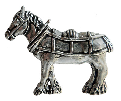 Shire Heavy Horse In Harness Pewter Pin Badge - Hand Made In Cornwall • 7£