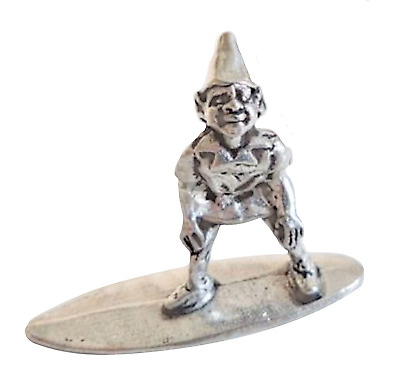 £8 • Buy Cornish Pixie Piskey On A Surfboard Pewter Ornament - Hand Made In Cornwall