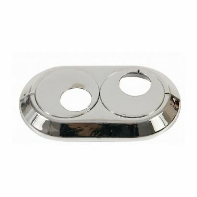£6.99 • Buy 15mm-28mm Double PVC Chrome Radiator Plastic Water Pipe Cover Collar Rose