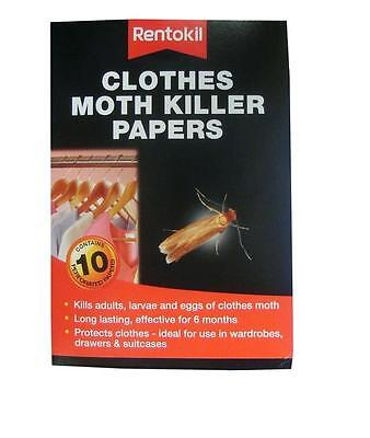 Moth Killer Strips Protects Clothes From Moths 6 Months RENTOKIL 10 Paper Pack • 5.89£