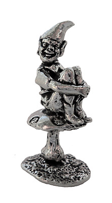 £6 • Buy Cornish Pixie Piskey On A Toadstool Pewter Ornament - Hand Made In Cornwall