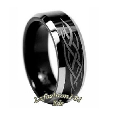 $12.19 • Buy 8mm Black Ion Plated Laser Engraved Tungsten Mens Wedding Eternity Band