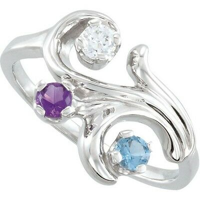 $75 • Buy Sterling SILVER Mother's Birthstone Ring 1-5 Stones, Moms Family Jewelry Ring