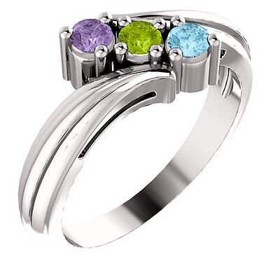 $85 • Buy Mothers Birthstone Sterling Silver Ring 1-6 Birthstones, Mom's Family Jewelry