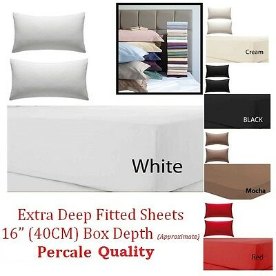 Extra Deep Fitted Sheet 16 /40CM Egyptian Cotton Single 4ft Small Double King • 3.25£