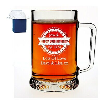 Personalised Engraved Pint Glass Tankard 18th 21st 30th Birthday Free Gift Box  • 11.98£