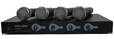 £149.99 • Buy Vocal-Star 4 UHF Wireless Cordless Microphones System Ideal For DJ Karaoke PA