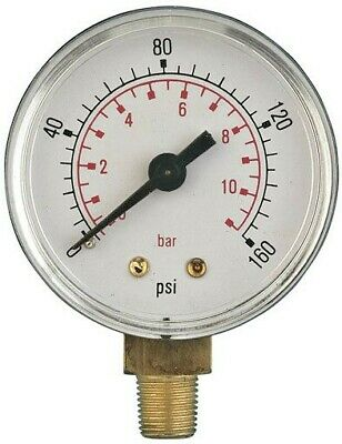 $10.28 • Buy Bottom Entry Air Pressure Gauges 50mm Diameter 1/8 To 3/8 Bsp, ABS And Brass