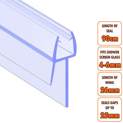 ECOSPA Bath Shower Screen Door Seal Strip • For 4-6mm Glass • Seals Gaps To 25mm • 5.49£