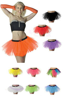 New Ladies Neon TUTU Skirt Fancy Dress 3 Layers Sexy Hen Party Skirts Uk 8-20 • 6.45£
