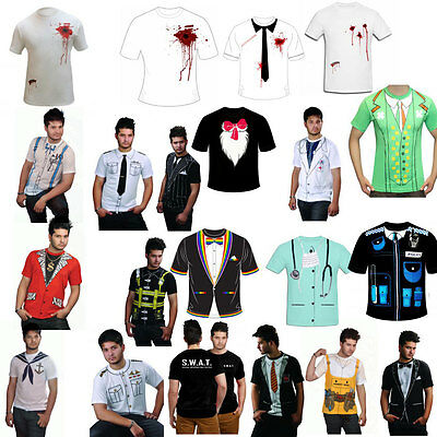 £6.41 • Buy Mens Printed T Shirt Fancy Dress Costume Stag Do Party Casual T Shirts Cowboy
