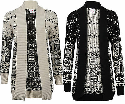 Womens Ladies Owl Print Knitted Long Sleeve Jumper Open Cardigan Plus Size 8 26 • 12.99£