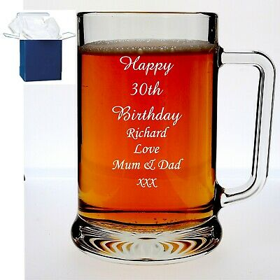 Personalised Engraved Pint Glass Tankard 18th 21st 40th Birthday Gift Box R-H  • 9.98£