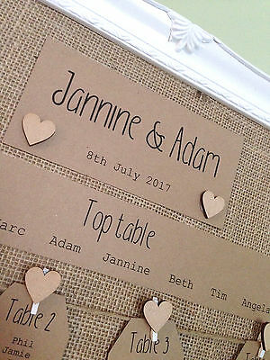 £50 • Buy 16 X20  Framed Table Plan,Hessian, Wooden Hearts And Brown Kraft Card