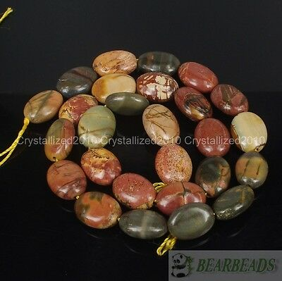 £3.31 • Buy Natural Picasso Jasper Gemstone Oval 11mm X 15mm Crafts Spacer Loose Beads 15