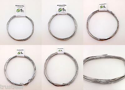 5 Metres Aluminium Modelling / Armature Frame Wire - Pick Your Gauge * FREE POST • 5.83£