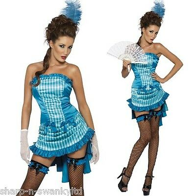 Ladies Sexy Turquoise Burlesque Show Girl Hen Do Fancy Dress Costume Outfit • 29.99£
