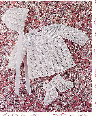 Baby- Crochet Jacket- Hat And Bootees- Lovely Vintage Crochet Pattern • 1.99£