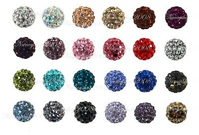 WHOLESALE 10mm Crystal Clay Disco Ball Shamballa Beads Top Quality New Arrivals • 8.19£