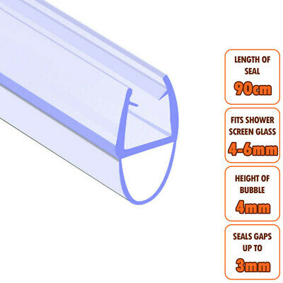 ECOSPA Bath Shower Screen Door Seal Strip • For 4-6mm Glass • Seals Gaps To 3mm • 4.99£