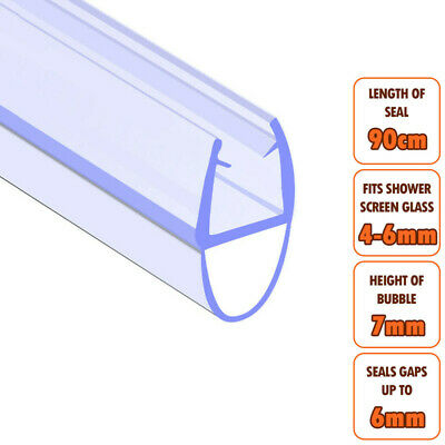 ECOSPA Bath Shower Screen Door Seal Strip • For 4-6mm Glass • Seals Gaps To 6mm • 4.99£