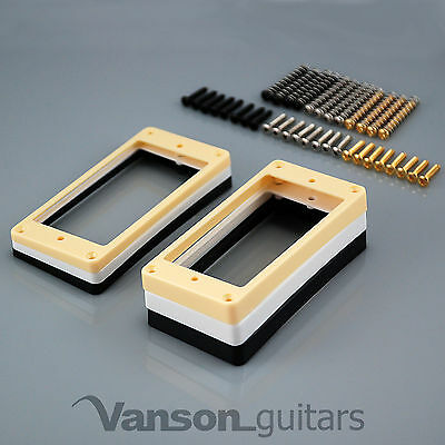 £7.90 • Buy 2 X Curved Base Mounting Rings & Screws For Epi Les Paul, ES, Humbucker Surround