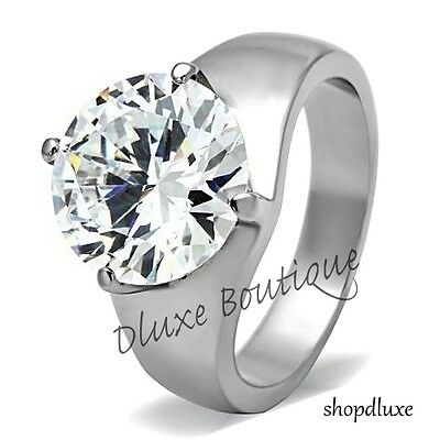 $15.99 • Buy Women's Round Cut Solitaire AAA CZ Stainless Steel Engagement Ring Band Sz 5-10