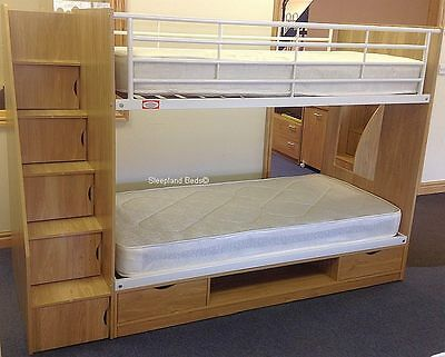 Storage Bunk Bed With Stairs - Fit Staircase Left Or Right - New Childrens Beds • 449£