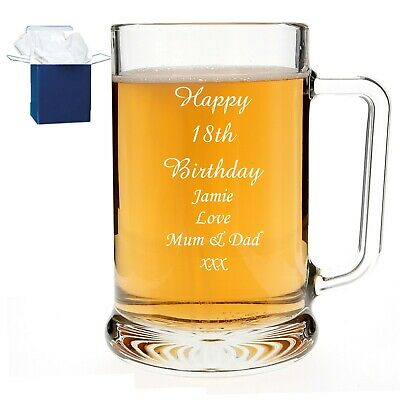 Personalised Beer Glass Tankard 18th 21st 30th Birthday Wedding Free Gift Box RH • 9.99£