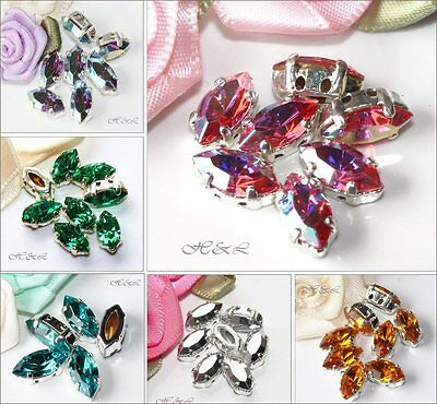 6 Swarovski Vintage Sew On 10x5mm Crystal Navettes 4200/2 10mm X 5mm SP Repair • 6.20£