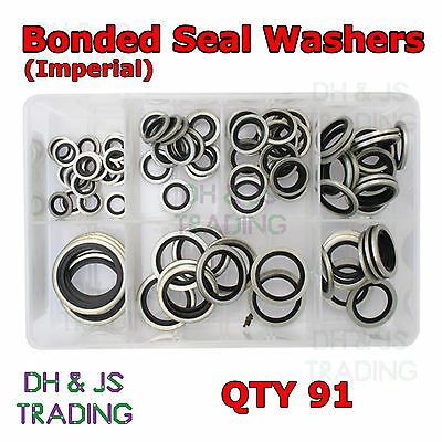 £19.99 • Buy Assorted Box Of Bonded Seal Washers Dowty Washers BSP  (1/8 - 1  BSP) Qty 90