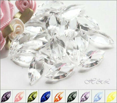 Swarovski 4200/2 WG + Czech Crystal Navettes Unfoiled Pointback Vintage Repair • 2.80£