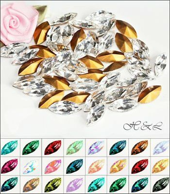 12 Swarovski Vintage 15x7mm Crystal Colours L-Z NAVETTES 15mm X 7mm GF 4200/2 • 2.80£